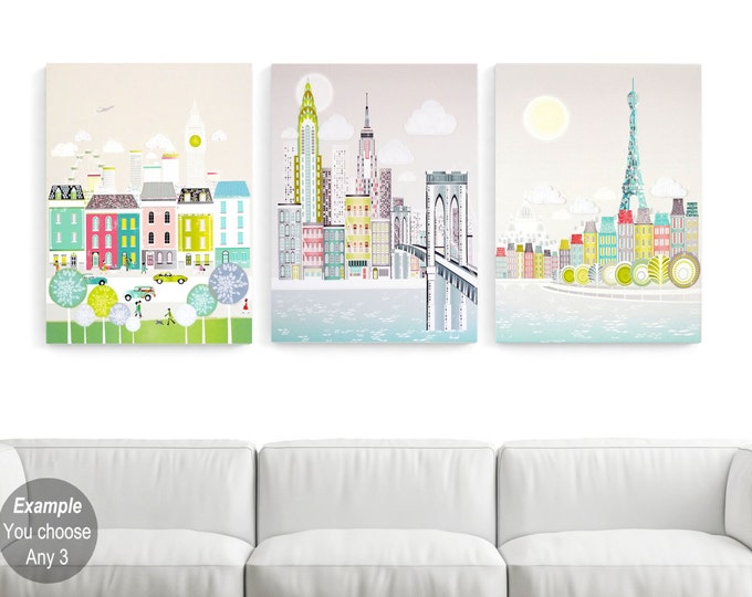 Featured listing image: LARGE Canvases, Large Wall Art Canvases, Big Wall Art, Pick any image in my shop: New York, London, Paris, Chicago, San Francisco, Rome