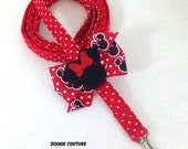 Red Dot Minnie Mouse Dog Leash With Bow 5' by Doogie Couture Pet Boutique