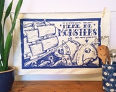 Sea Monster Tea Towel - From Linocut, 100% Cotton Kitchen Towel, Dish Towel, Cotton Napkin, Nautical, Sailor Tattoo, Pirate, Sea Side, Ocean