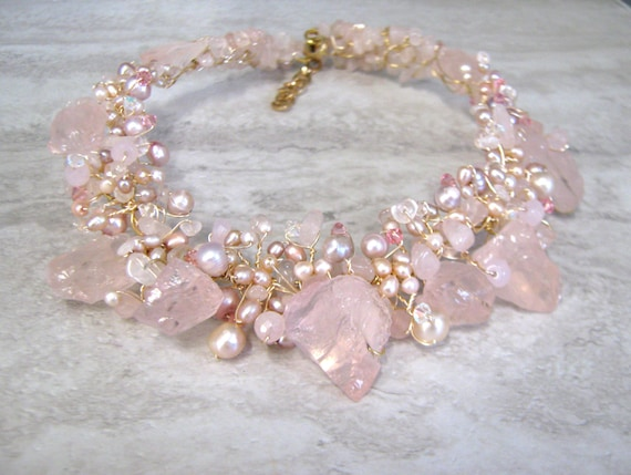 Pink Bib Necklace Wire Wrapped with Rough Rose Quartz Stones Freshwater Pearls & Swarovski Crystals (upscale unique gifts for mom)