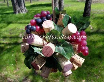 Wine cork kissing ball/ vineyard wedding/ flower girl bouquet/floral alternative