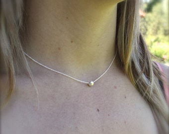 Silver ball bead necklace - Dainty silver necklace - Layering necklace - Everyday necklace - Photo NOT actual size