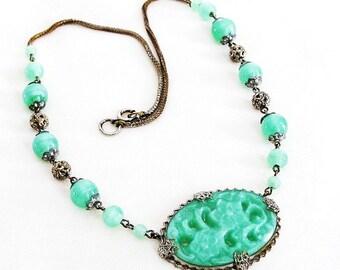 Czech Green Carved Peking Glass Pendant Necklace