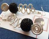 READY TO SHIP: beaded hammered aluminum earrings