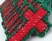 12 Red Green Christmas Cross Tree Ornaments