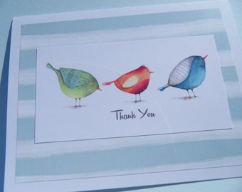 Thank You Cards - Shower Thank You Cards - Wedding Gift Thank You Cards - Bird Note Cards - Bird Thank You Cards - Set of 2 Cards -  bnc3