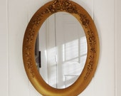Vintage Oval Mirror Wood and Gesso Framed Gilt Mirror