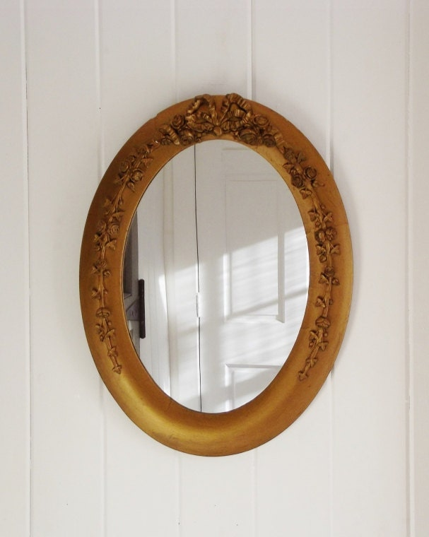 Vintage Oval Mirror Wood And Gesso Framed Gilt Mirror Rose