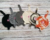 Cat Butt Coasters Crochet Set of 6 Cotton Trivet Mini Hot Pads Black White Rust Gray Kitty Housewarming Kitchen Decor Gift READY TO SHIP