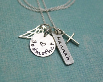 Godmother Necklace - Personalized and Hand Stamped - Cross and Angel Wing in Sterling Silver
