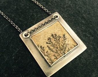 Dendritic Limestone Fern & Oxidized Sterling Silver Rivet Necklace