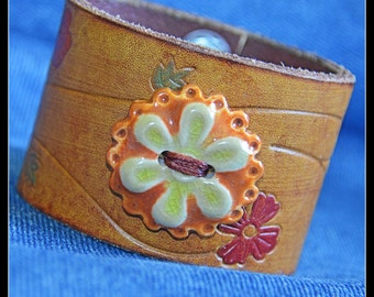 Orange Blossom Special Recycled Leather Cuff