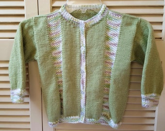 Child Size 3 Yr Hand Knitted Button Up Sweater/ Unisex/ Boys/ Girls / Handmade Clothing For Kids/ Light Greens, White, and Taupe