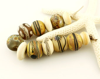 Lampwork Beads Set  Organic, Etched Matte Ivory, Gray, Brown, Black, Silver  'Summer Neutrals'