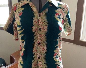 SALE FAB 1940's Style Floral Tropical Hawaiian Silk Green Ladies or Boys Shirt