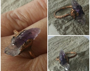 Amethyst Shard  Ring Copper Handmade free form rustic Antiqued  Unique One of a Kind Electroformed Boho Bohemian FREE SHIPPING