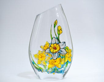 Dancing daffodils - hand painted glass vase