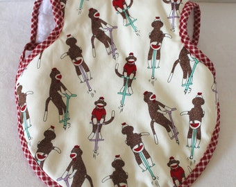 6 To 18 Months Bapron Baby Girl or Boy  Gender Neutral Bib Soft Absorbent Terrycloth Backing Sock Monkey Pastels Baby Gift Boy or Girl