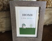 Framed art, mothers day gift, home is where mom is art, 5x7 framed art