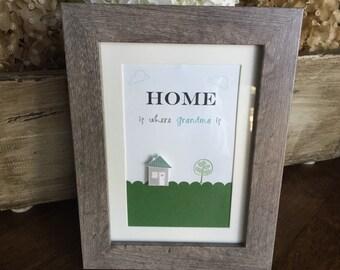 Framed art, mothers day gift, home is where mom is art, 5x7 framed art