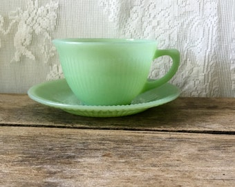 Vintage Fire King Jadeite Jane Ray Cup and Saucer FireKing Ribbed
