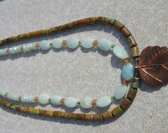 Ceramic copper leaf necklace