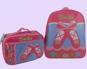 Child's Personalized Stephen Joseph GoGo BALLET SHOES Themed Backpack and Lunchbox School Set-Monogramming Included In Price