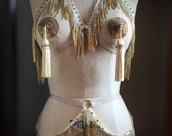 Shimmy Bra and Belt Set Burlesque Beaded Fringe Costume Cage Bra with Circle Detail Made to Order