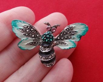"""Vintage silver tone 1.5"""" bumble bee brooch with marcasite and pink rhinestones in great condition, appears unworn"""