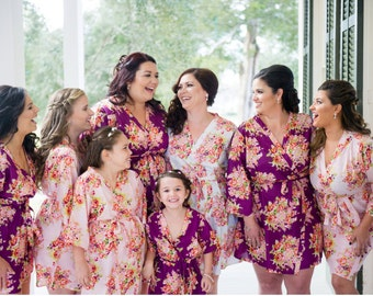 Floral Posy Bridesmaids Robe Sets | Kimono Robes. Bridesmaids gifts. Getting ready robes. Bridal Party Robes. Floral Robes. Dressing Gowns