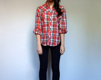Plaid Western Shirt Vintage Pearl Snap Red Collared Button Down Long Sleeve Rockabilly Top - Small Medium Large S M L