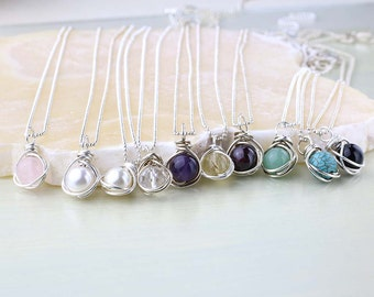 Set of 5 Bridesmaid Necklaces, Gemstone Pendant and Sterling Silver, Bridesmaid Gift- Chain and Gemstone Choice, Wedding Jewelry