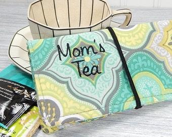 Tea wallet, 8 pockets, Mom tea wallet, large tea wallet, gift for tea drinker, travel tea bag case, tea gift for mom, aqua gray