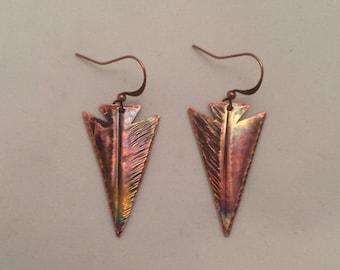 Handcrafted Heated Copper Arrowhead Earrings