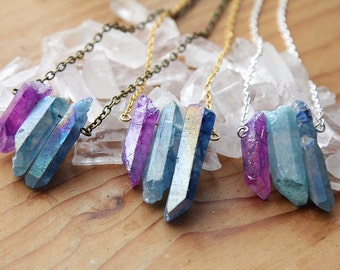 Dream Aura Quartz Crystal Necklace - Natural Titanium Rough Spike Point Rainbow Clear Unique Silver Gold Plated Brass Finish