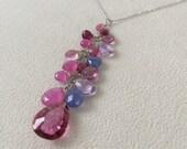 14K White Gold Pink Sapphire Gemstone Pendant Necklace with Mystic Pink Topaz, Tanzanite, Tourmaline and Ametrine