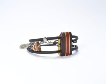 Bracelet - reversible bracelet - women bracelet - jewelry - isabelle ferland- wood- reversible -OOAK