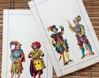 Pair of Fancy Pants Soldiers:  Die Cut Victorian Ephemera on Cardstock Mount, r