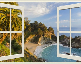 Wall mural window, self adhesive, California open window view-3 sizes available-Big Sur, McWay Falls with Palm- free US shipping