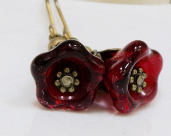 Red Czech glass flower dangle earrings, Red glass flowers, czech flower drop earrings, Red earrings