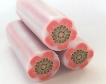 Polymer Clay Cane, Orange Flower, Raw, Unbaked Clay