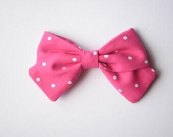 The Addison | Raspberry Polka Dot | Baby Girl, Toddler, Girl Fabric Bow Headband or Clip