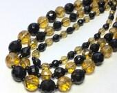 W. Germany Three Strand Glass Beaded Necklace