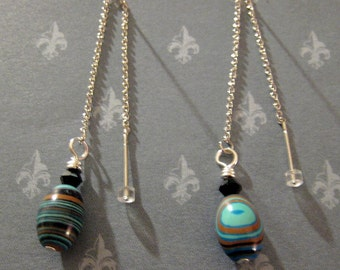 Blue, Black and Brown Created Malachite Turkey Turquoise Earring Threaders