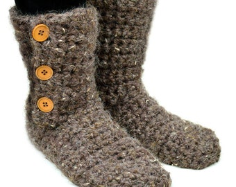 Buttoned Slipper Booties - 9 Sizes - PDF Crochet Pattern - Instant Download