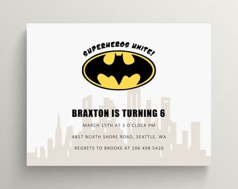 batman birthday invitation set  //  baby shower //  gotham city  //  super hero // thank you note // super hero