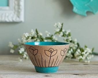 Ceramic Bowl / Sgraffito / Turquoise Blue