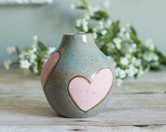 Ceramic Bud Vase / Hand Painted / Hearts / Pink