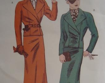 Retro 1930s Butterick Suit Pattern Uncut size 18-20-22