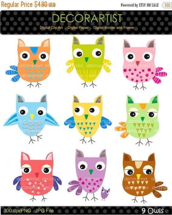 Items Similar To On Sale Owl Clip Art Digital Clip Art